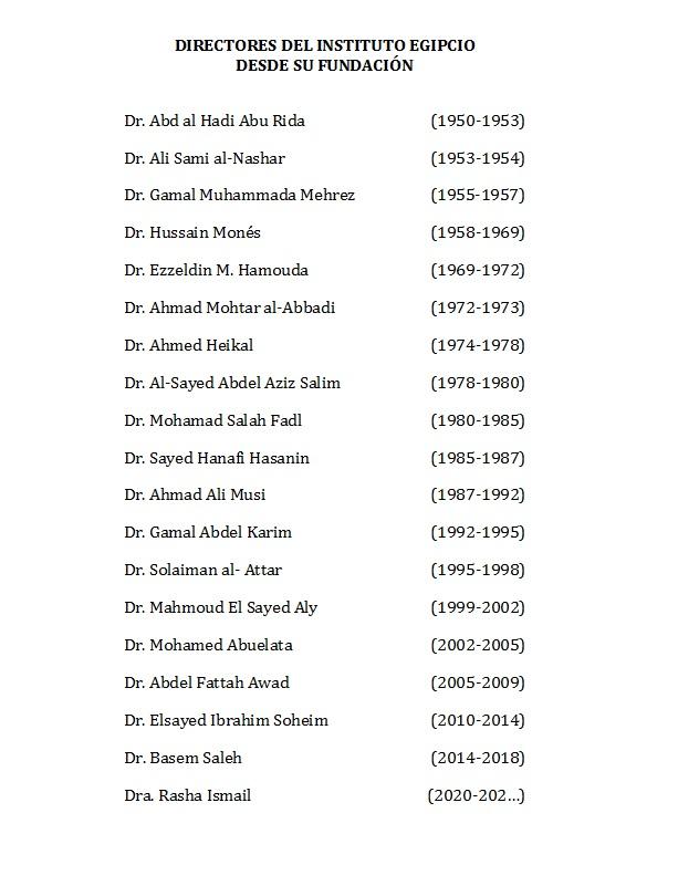 Directores del Instituto Egipcio